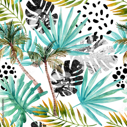 Hand drawn abstract tropical summer background - 172406892