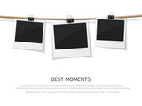 Enjoy every moment. Set of vector polaroid photo hanged on rope. Realistic retro style instant fotos with thread - 172407895