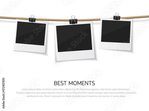 Fototapeta Enjoy every moment. Set of vector polaroid photo hanged on rope. Realistic retro style instant fotos with thread