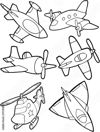 In de dag Cartoon draw Cute Aircraft Vector Illustration Set