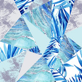 Abstract watercolor triangle and exotic leaves pattern. - 172410280