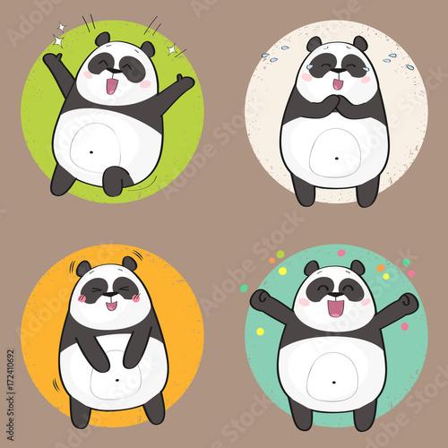 Fototapeta Set of cute panda bear stickers in various poses. Happy cartoon panda character