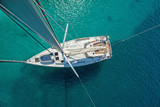 Fototapety View from high angle of sailing boat. Aerial photography of ship deck