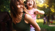 Quadro Little girl with special needs enjoy spending time with mother