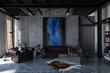 Industrial polished concrete living room interior - 172415828