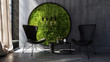 Chairs standing by wall with round moss art - 172416014