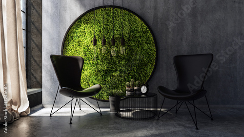 Chairs standing by wall with round moss art © XtravaganT