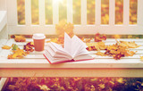 open book and coffee cup on bench in autumn park - 172417644