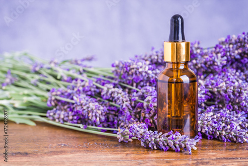 Lavender oil or essential oil, natural remedies, aromatherapy. - 172422897