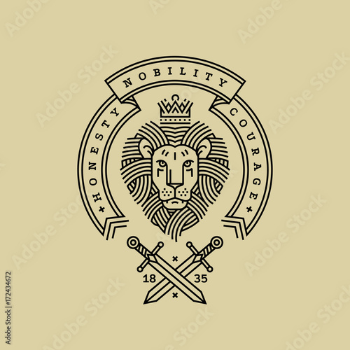 Fototapeta Emblem, badge with a head of royal lion, ribbon, motto and swords in the style of engraving of linear design for a premium logo or coat of arms. Lion with a crown symbol of power, strength, security.