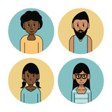 Young friends cartoons set icon vector illustration graphic design - 172446024
