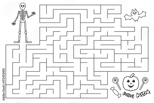 Halloween funny maze for preschool and school kids. Skeleton and bat are looking for candies. Coloring page. Vector illustration.