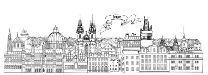 City view. Prague old town landmarks skyline. Travel Czech background
