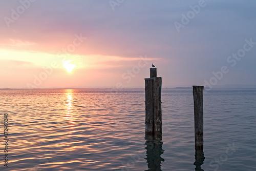 Keuken foto achterwand Zee zonsondergang lago di garda