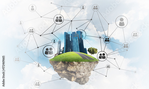 Papiers peints Herbe Concept of modern networking technologies and eco green construction