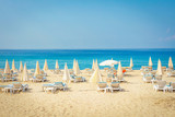 Resort tropical sea beach. Summer vacation on beach in Turkey. Alanya beach