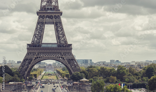 View of the Eiffel Tower from the trocadero place, Paris, France