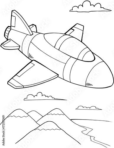 Papiers peints Cartoon draw Cute Military Jet Aircraft Vector Illustration Art