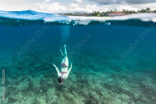 Staande foto Tropical strand Reef Diver