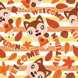 Seamless pattern of cute squirrel girls, and maple leaves on striped background vector cartoon illustration for Autumn wrapping paper, fabric clothes, and wallpaper