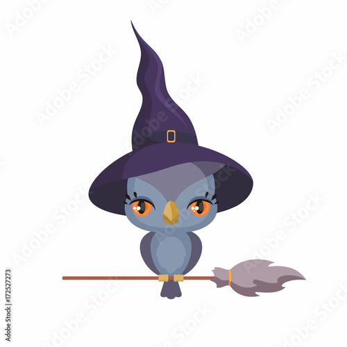 Keuken foto achterwand Uilen cartoon Little cute owl in a witch hat in a cartoon style. Children's illustration on white background.