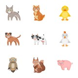 Farm, production, zoo and other web icon in cartoon style. Animals, nature, forest