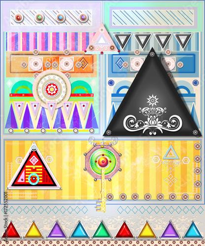 In de dag Imagination Sfondo etnico e psichedelico con mandala,bersagli ,segni,frecce e forme astratte e geometriche