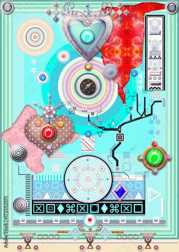 In de dag Imagination Sfondo etnico e psichedelico con cuore,mandala,bersagli,macchie colorate e forme astratte e geometriche