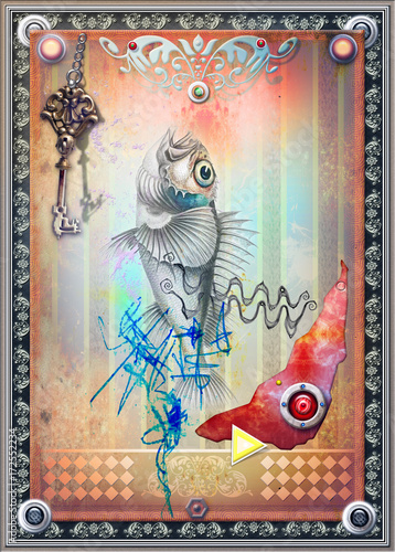 Foto op Plexiglas Imagination Sfondo etnico e psichedelico con chiave,pesce,disegni misteriosi e forme astratte e geometriche