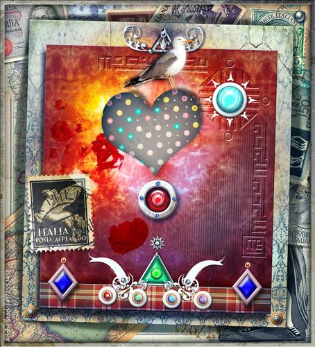 In de dag Imagination Sfondo etnico e psichedelico con cuore,colomba,francobolli e forme astratte e geometriche