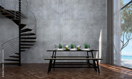 The interior design of dining room and sea view and concrete wall