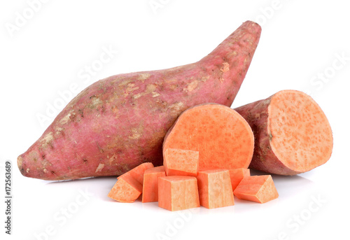 Foto Murales Sweet potato isolated on white background