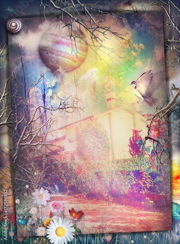 Tuinposter Imagination The secret kingdom-Giardini fiabeschi e incantati dell'eden
