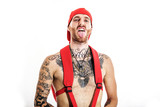 tattooed rap singer posing in studio on a white background - 172590889