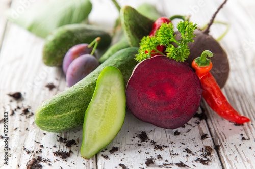 Bio vegetables on old wooden table. - 172597283
