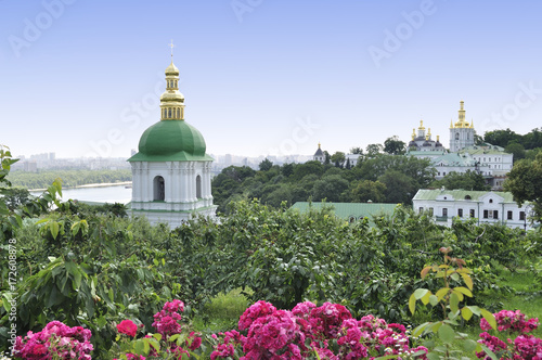 View of the Cathedral complex and park of Kiev Pechersk Lavra - Caves of the monastery - National Historic-Cultural Sanctuary.