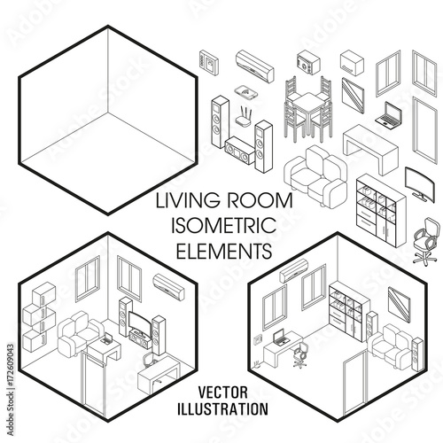Isometric Living Room Interior Constructor Vector Set Of Furniture Elements Home Isolated