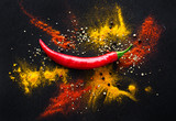 Red hot pepper. a mixture of spicy seasonings. View from above