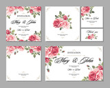Set Wedding invitation vintage card with roses and antique decorative elements. Vector illustration