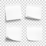 Set of white sheets of note paper isolated on transparent background. Four sticky notes. Vector illustration. - 172628294