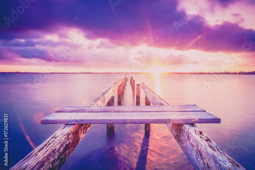 Foto op Aluminium Lichtroze Cleveland jetty at sunset