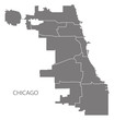 Chicago city map with boroughs grey illustration silhouette shape