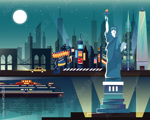 Statue of Liberty and landmarks in New York city © Bluehousestudio