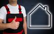 Haus Icon wird von Handwerker mit Daumen nach oben gezeigt