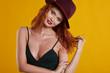 Redhead  autumn woman in studio