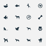 Vector Illustration Set Of Simple Animals Icons. Elements Pigeon, No Animal, Footprint And Other Synonyms Pounder, Dalmatian And Medicine. - 172636079