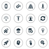 Vector Illustration Set Of Simple Solution Icons. Elements Remote Storage, Innovation, Solar Energy And Other Synonyms Deadline, Refresh And Choose. - 172636411