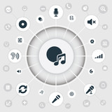 Vector Illustration Set Of Simple Dj Icons. Elements Scale, Cinema, Volume And Other Synonyms Studio, Amplifier And Compact. - 172636858