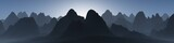 silhouettes of mountains against the sky, panorama of mountains, banner, 3d rendering