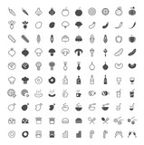 Set of 100 Vegetables and Food Minimal and Solid Icons on White Background . Vector Isolated Elements - 172640861